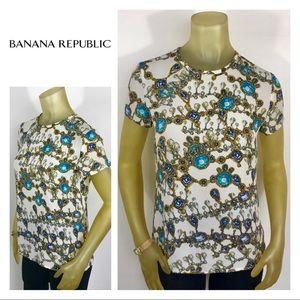 BANANA REPUBLIC Jeweled Blouse Shirt XS 0 2 Gems